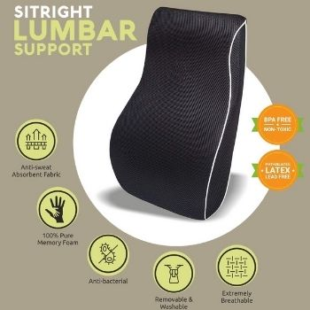 Grin Health SitRight Pro Memory Foam Lumbar Back Support features